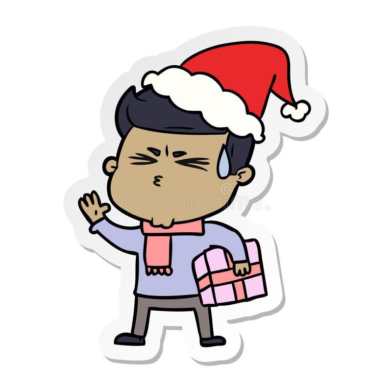 majcher kresk?wka m??czyzny pocenie jest ubranym Santa kapelusz ilustracja wektor