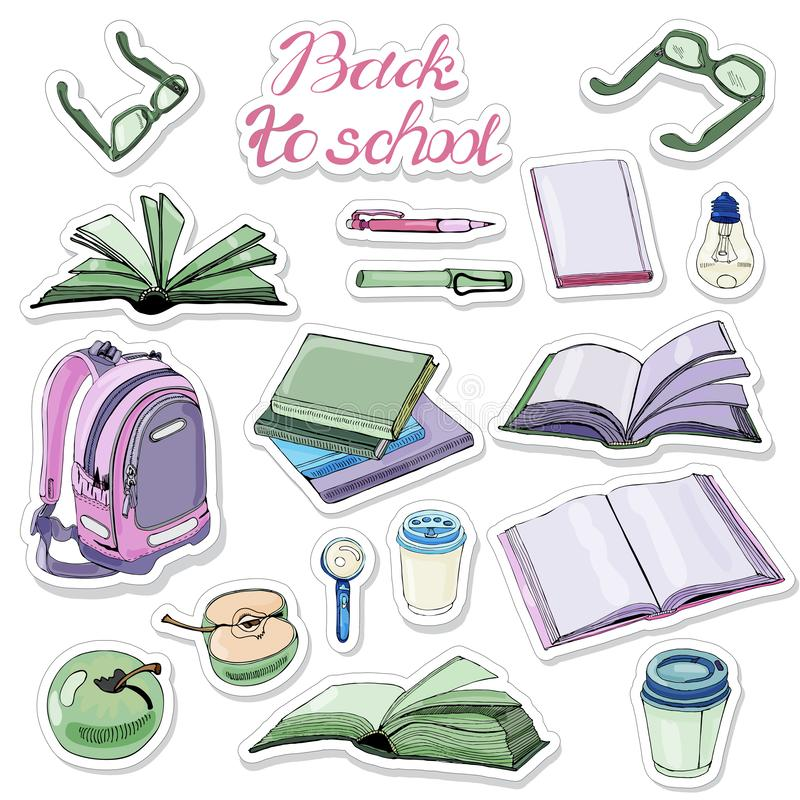 Majcher paczka ręka rysujący atrament i barwiący nakreślenie z książkami i szkół rzeczami Kolor?w elementy odizolowywaj?cy na bia royalty ilustracja