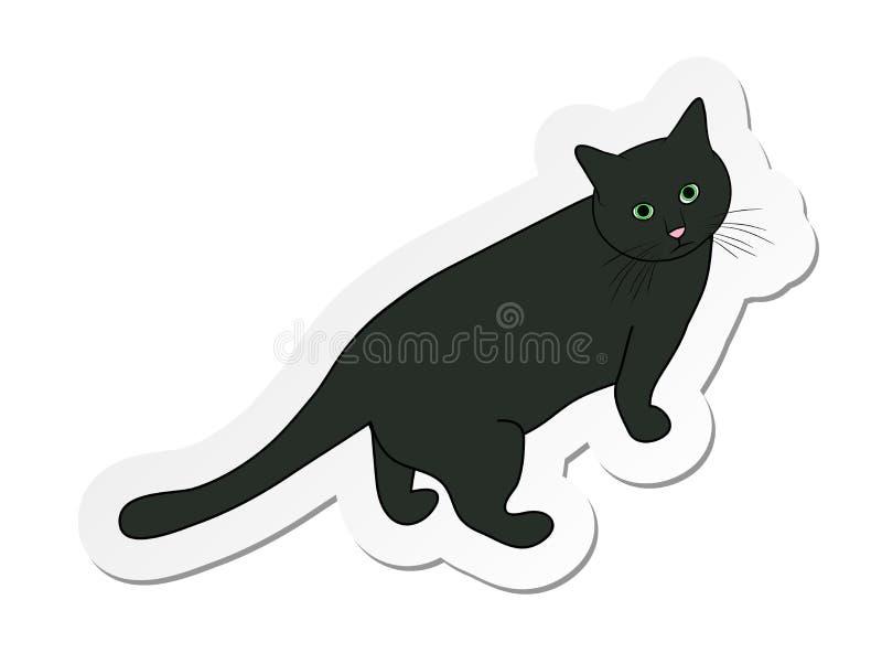 Majcher popielaty kot w płaskim kreskówka stylu odizolowywającym na białym tle ilustracji