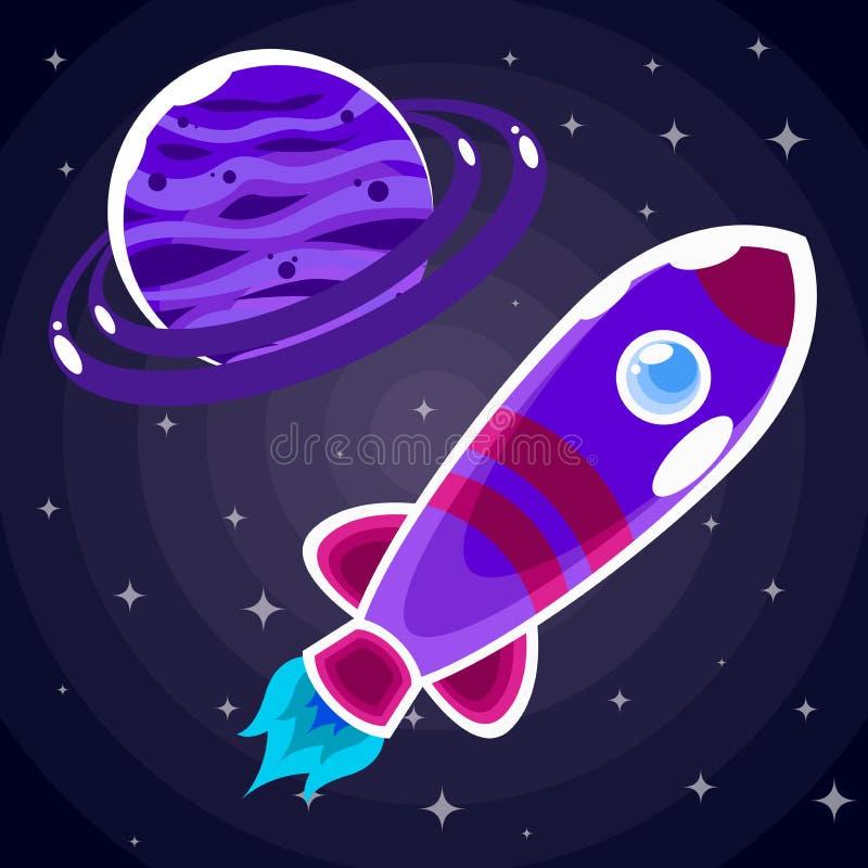 Majcher purpurowa astronautyczna rakieta z porthole który lata za purpurową planetą ilustracji