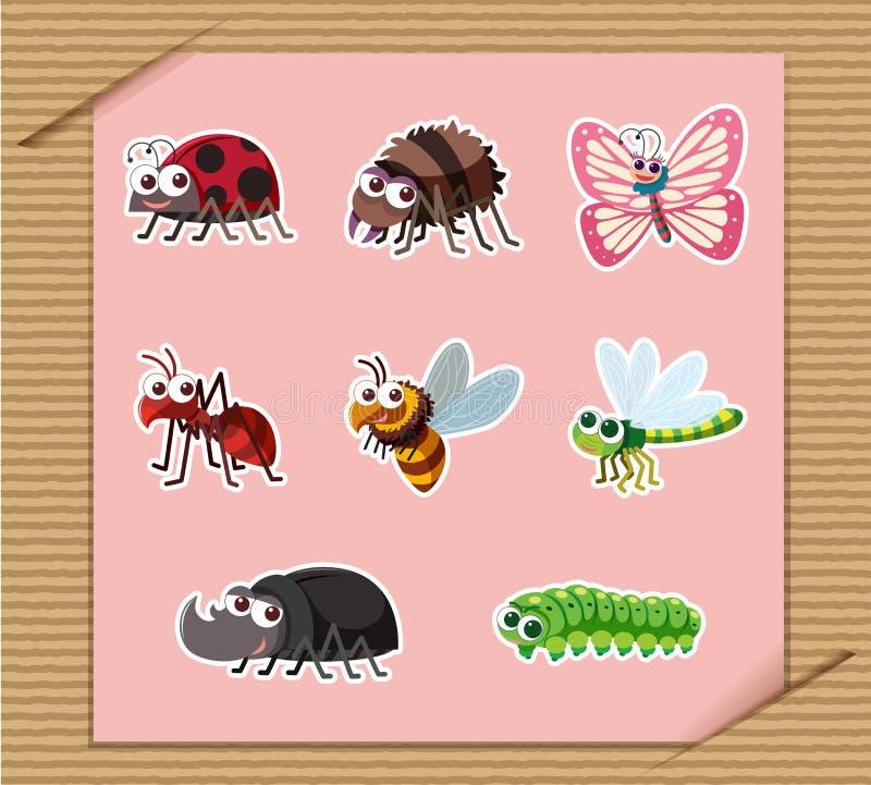 Majcher ustawiający wiele typ insekty ilustracja wektor