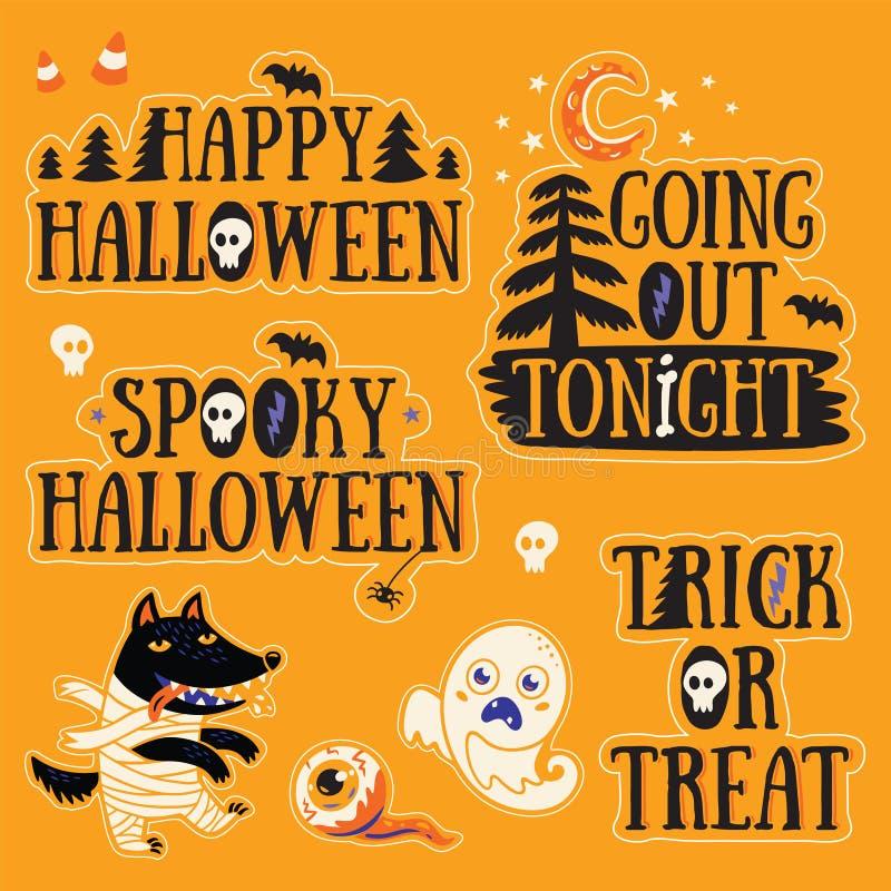 Majcher ustawiający z postać z kreskówki i tekstem dla Halloween royalty ilustracja