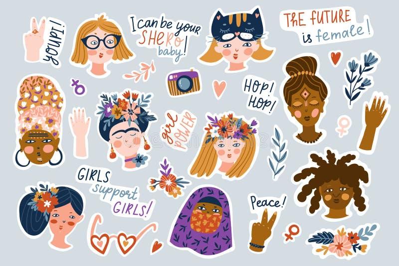 Majcher ustawiaj?cy kobiety r??ne narodowo?ci i religie Śliczni i śmieszni dziewczyna charaktery z śmiesznymi zwrotami Feminizmu  royalty ilustracja