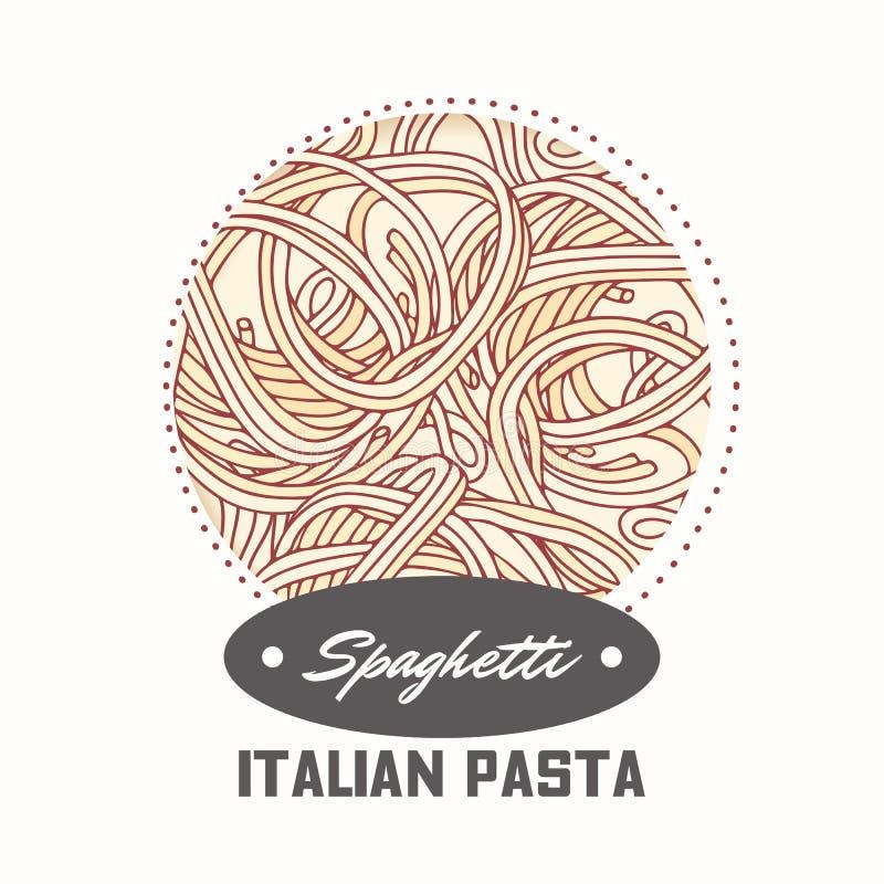 Majcher z ręka rysującym makaronu spaghetti odizolowywającym na bielu Szablon dla karmowego pakunku projekta ilustracja wektor
