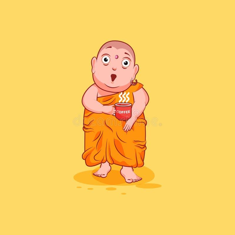 Majcheru emoji emoticon emoci wektor odizolowywał ilustracyjną nieszczęśliwą charakter kreskówkę Buddha zaskakujący z dużymi ocza ilustracja wektor