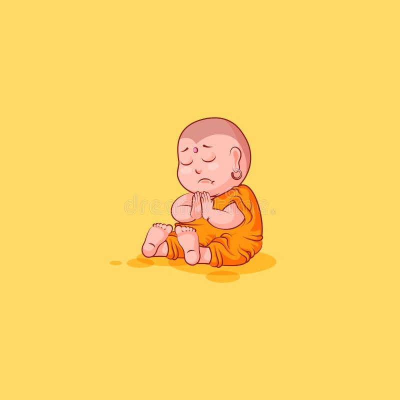 Majcheru emoji emoticon emoci wektor odizolowywał ilustracyjnej nieszczęśliwej charakter kreskówki smutnego stroskanie Buddha ilustracja wektor