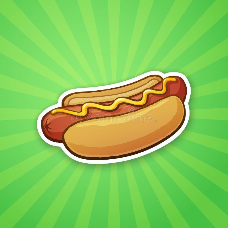 Majcheru hot dog z musztardą ilustracji