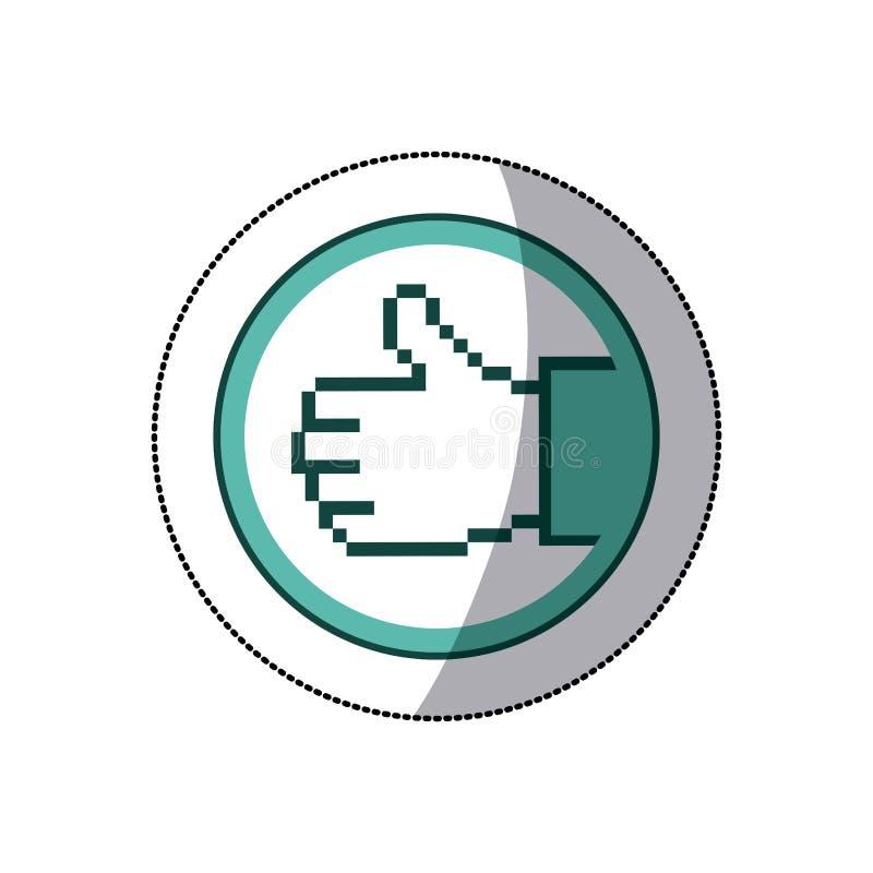 majcheru koloru kurendy rama piksel ręka z sygnałowym ok ilustracji
