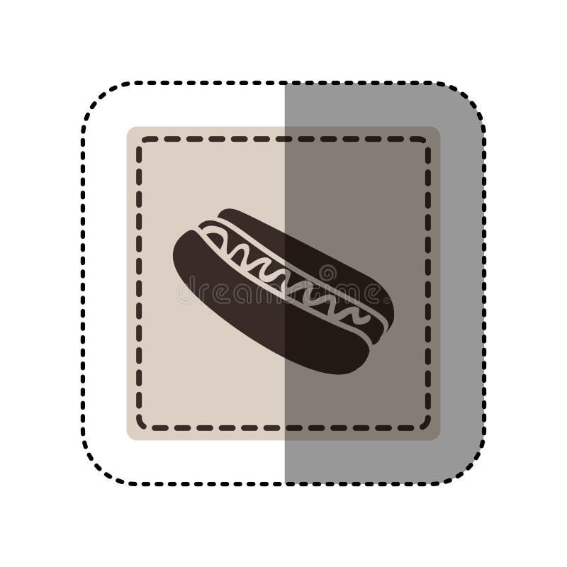 majcheru monochromu kwadrat z hot dog z kumberlandem royalty ilustracja