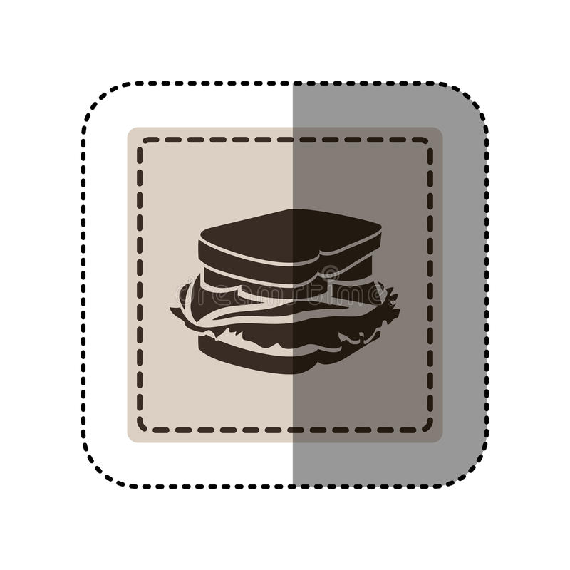 majcheru monochromu kwadrat z kanapką ilustracji