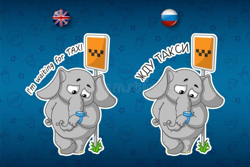 Majcheru słoń taxi czekanie Patrzeje jego zegarek ilustracja wektor