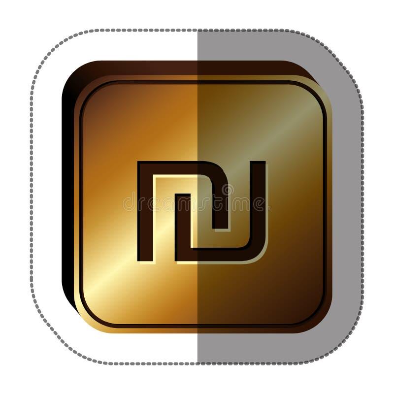 majcheru złoty kwadrat z waluta symbolem Israel sykl ilustracji