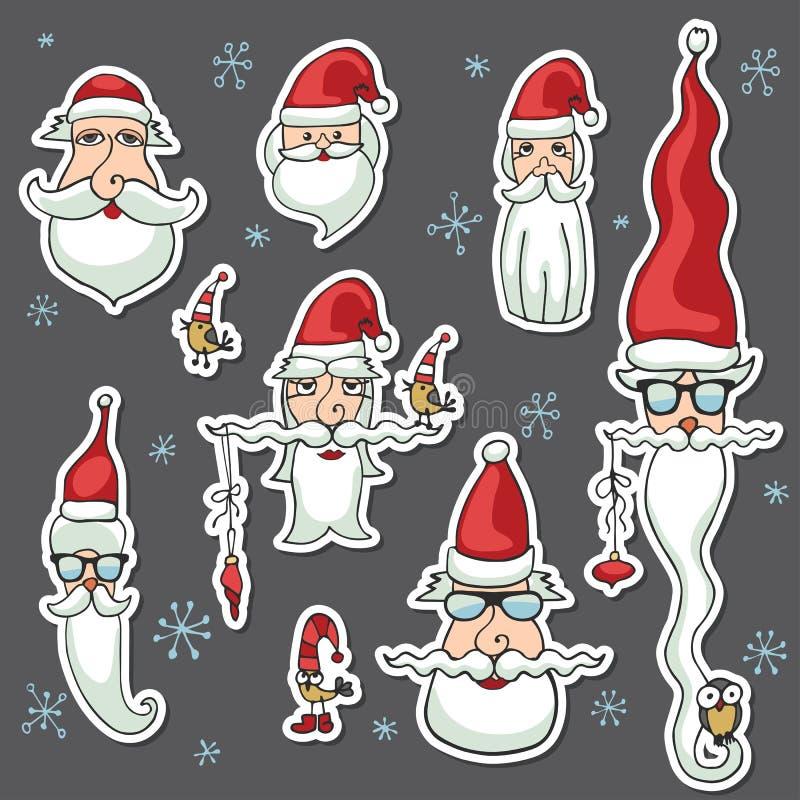 Majchery, ikony Święty Mikołaj stawia czoło set ilustracja wektor