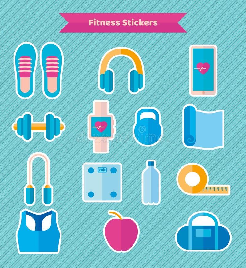 Majchery sprawności fizycznej wyposażenie: hełmofony, joga matują, dumbbell, mądrze zegarek Wektor w mieszkanie stylu ilustracji
