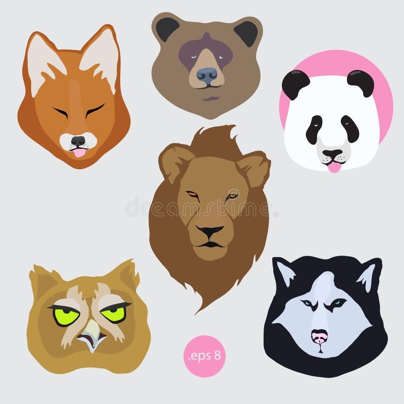 Majchery ustawiający wektorowi wizerunki zanudzający zmęczony zwierzę: panda, niedźwiedź, lis, psi husky, lew, sowa ilustracji