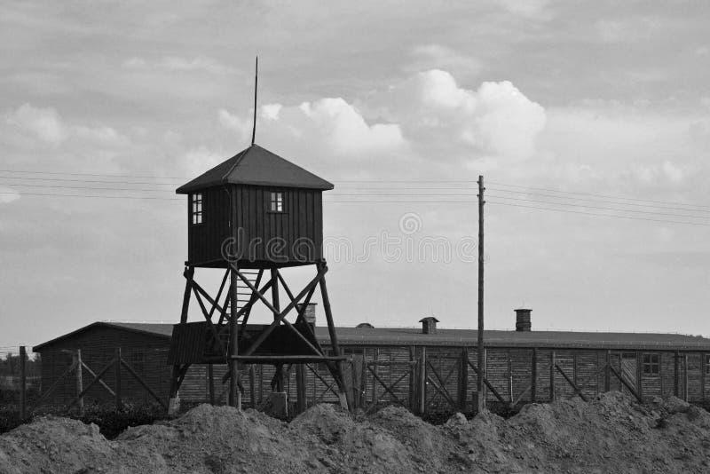Majdanek koncentracyjnego camp_ czarno biały wizerunek obraz royalty free