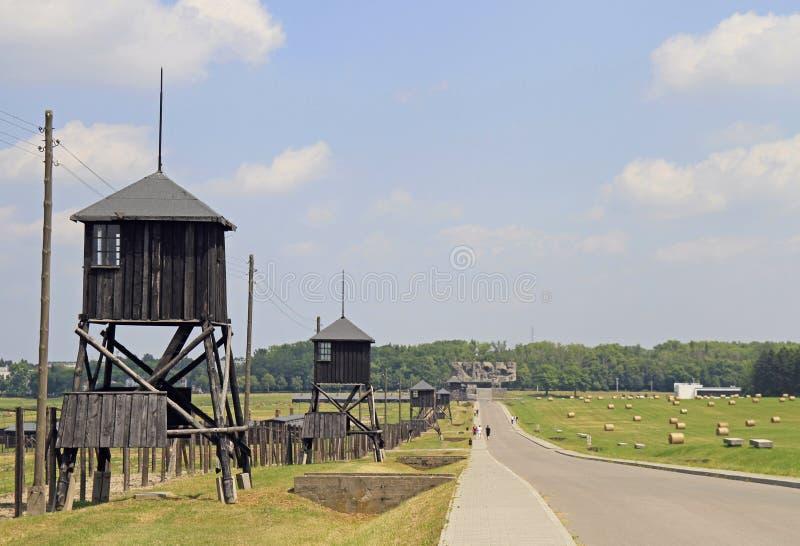 Majdanekconcentratiekamp op de rand van Lublin stock foto's