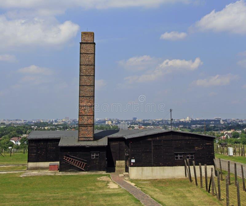 Majdanekconcentratiekamp op de rand van Lublin stock foto