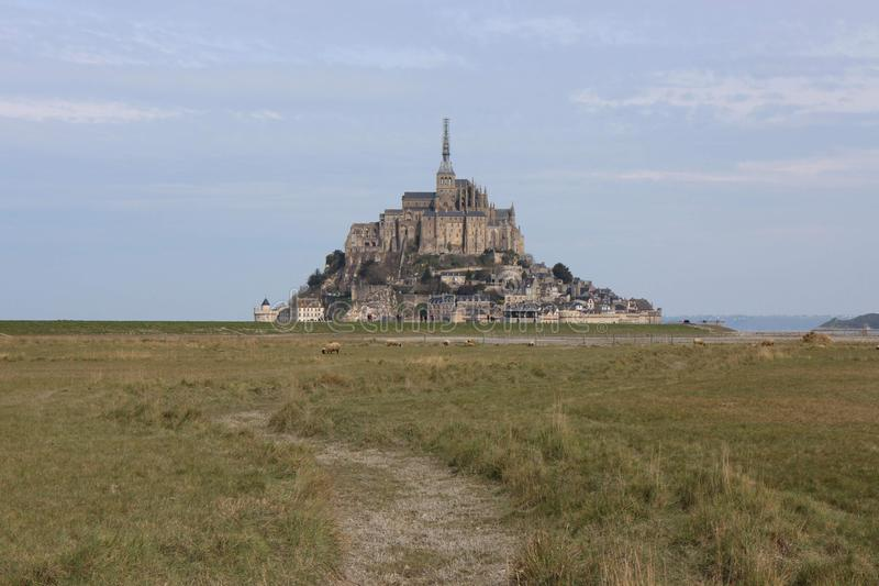 The majectic Mont-Saint-Michel in France stock images
