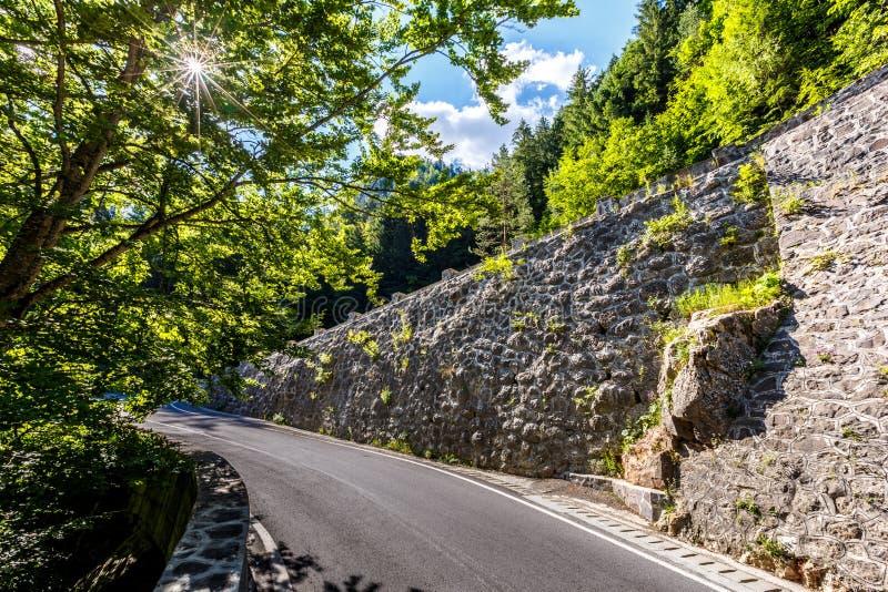 Majestätische Gebirgslandschaft Straße in den Bergen, Herbstwald a, der im Sonnenlicht glüht Rumänien-Karpatenberge Bicaz-Schluch stockbilder