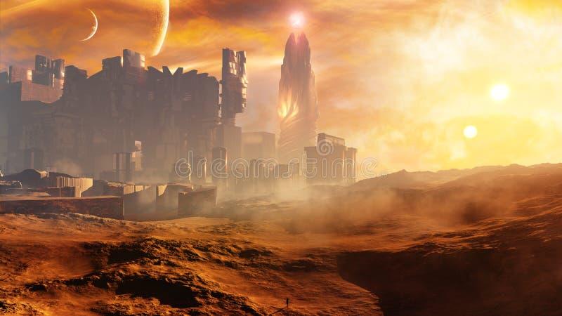 Majestätisches Konzept-goldene Wüsten-Stadt mit Turm stock abbildung
