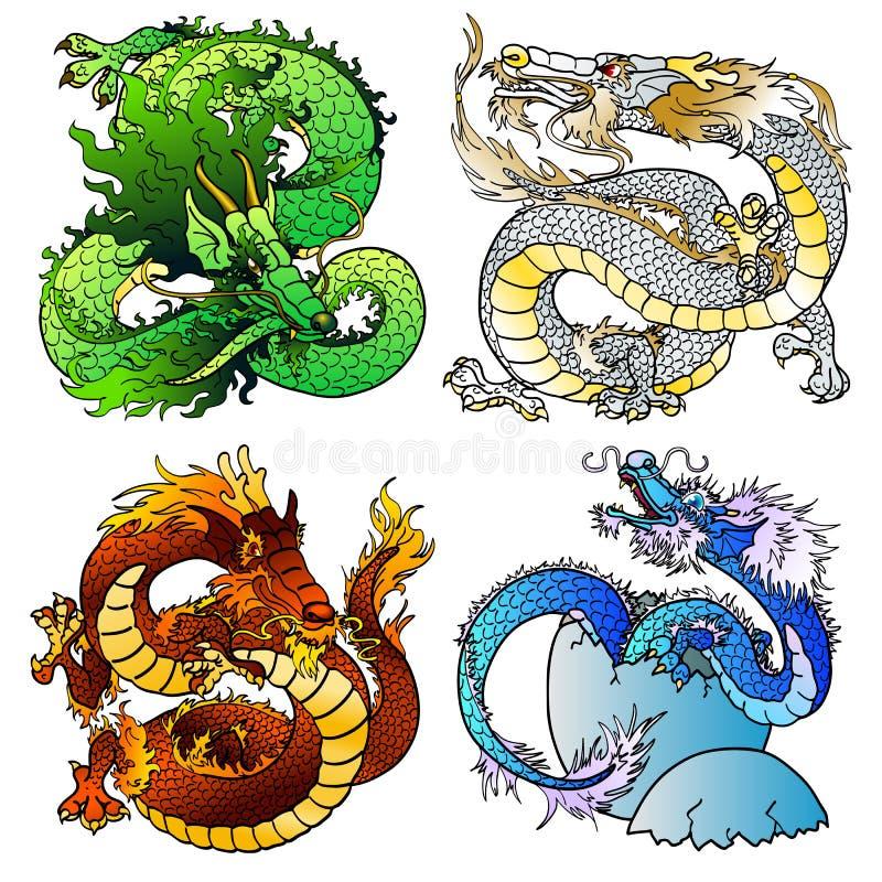 Majestätisk asiatisk färgdrake för uppsättning fyra stock illustrationer