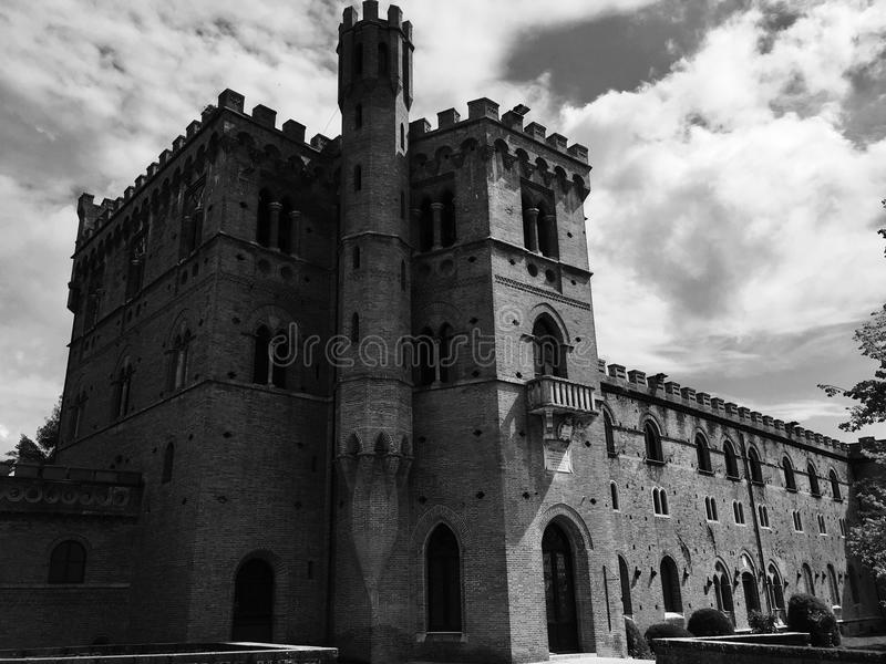 Majestätisk och störande slott royaltyfri bild