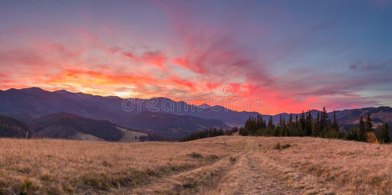 Majestätisk solnedgånghimmel i landskapet för Carpathian berg royaltyfri bild