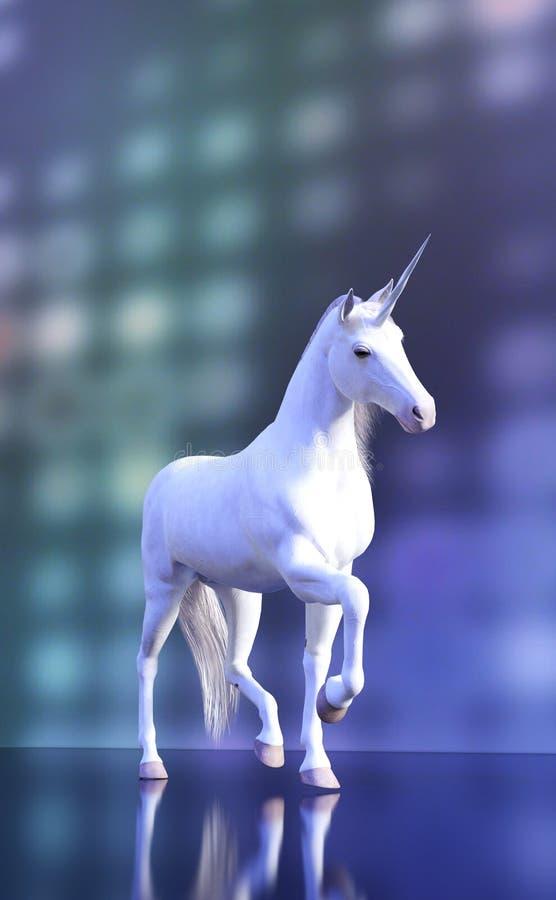 Majestätisk vit enhörning på purpurfärgad diskobakgrund vektor illustrationer