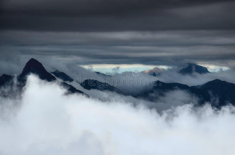 Majestätiska skarpa maxima stiger över moln och dimmaCarnic fjällängar Italien royaltyfri fotografi