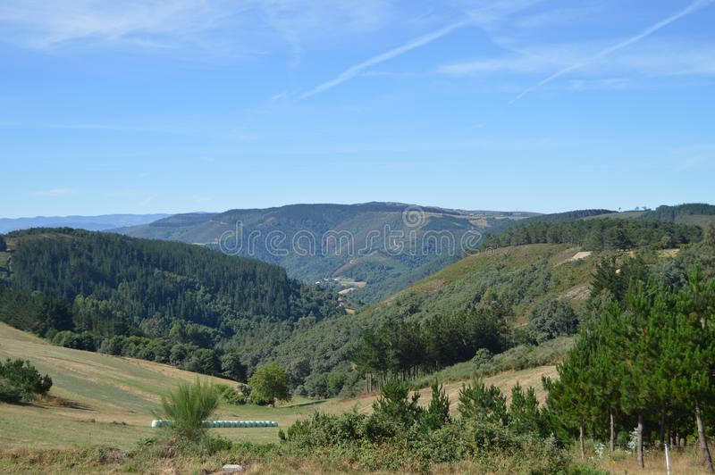 Majest?tiska berg av Galicia som ?r fulla av dalpinjeskog?ngar och skogar av eukalyptuns i Rebedul Augusti 3, 2013 Rebedul royaltyfria bilder