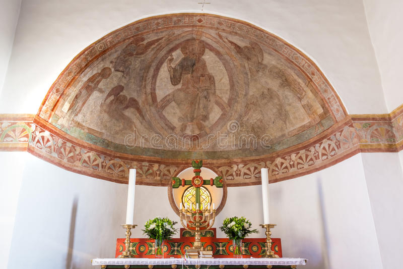 Majestas Domini罗马式墙壁绘画  免版税库存照片