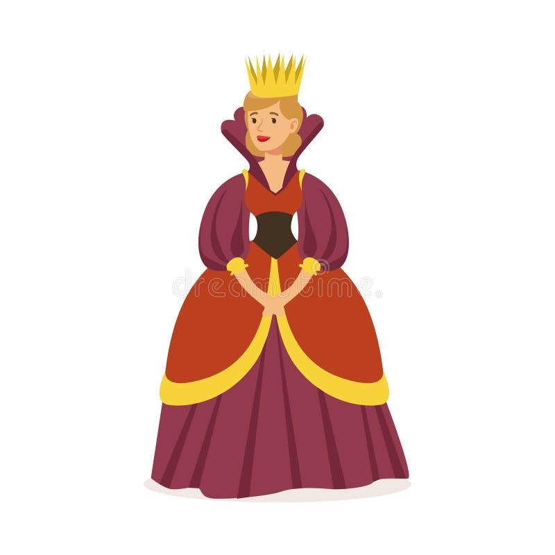 Majestatyczna królowa w purpury sukni i kolorowej wektorowej ilustraci złocistej korony, bajki lub Europejskiego średniowiecznego ilustracji