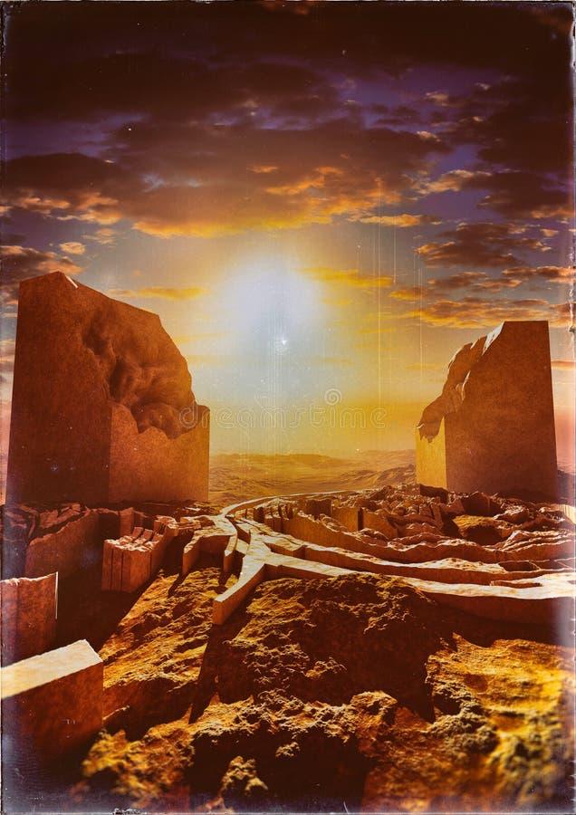 Majestatyczne zabytek ruiny Na Opustoszałej ziemi ilustracji