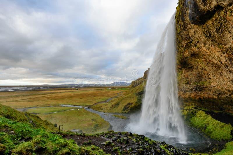 Majestatyczny Seljalandsfoss sławna siklawa w Iceland kolory kształtują teren wibrującego czerwonego zmierzch Piękna atrakcja tur obraz royalty free