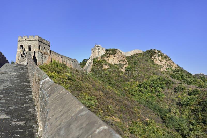 Majestatyczny wielki mur przy Jinshanling, 120 KM północnego wschodu od Pekin fotografia royalty free