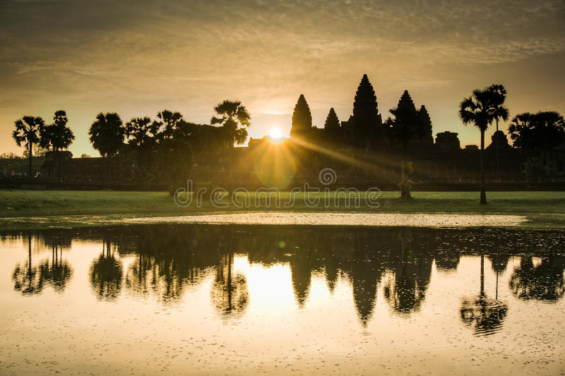 Majestic Angkor Wat at Sunrise stock images