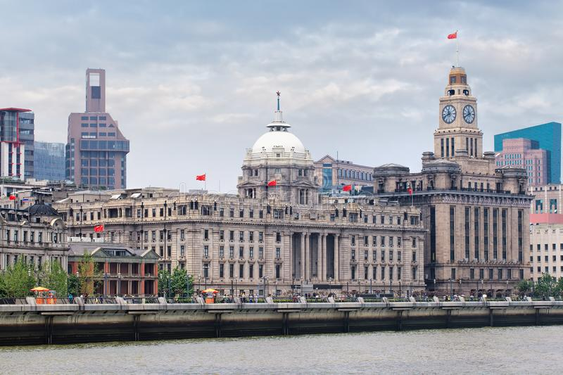 Majestic art-deco colonial architecture at Bund Boulevard, Shanghai, China. Majestic art-deco colonial architecture at the famous Bund Boulevard, Shanghai, China royalty free stock photography