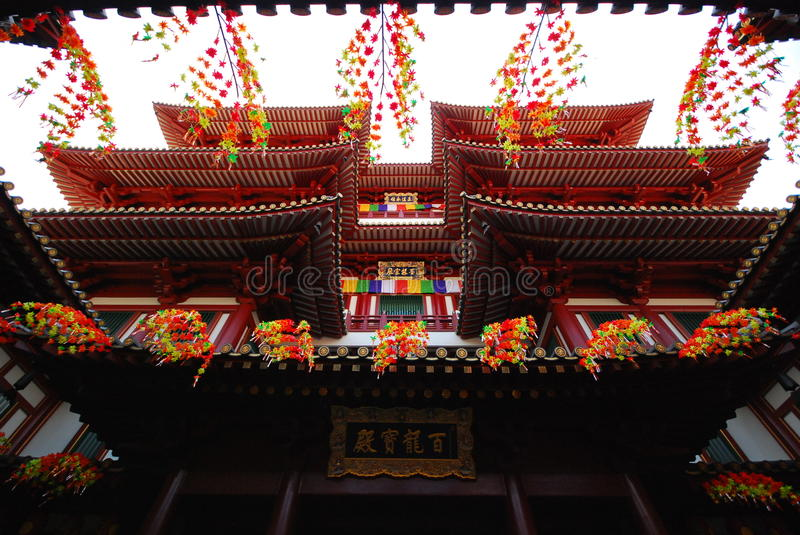 Majestic Asian style Buddhist temple architecture. China Town, Singapore royalty free stock photography