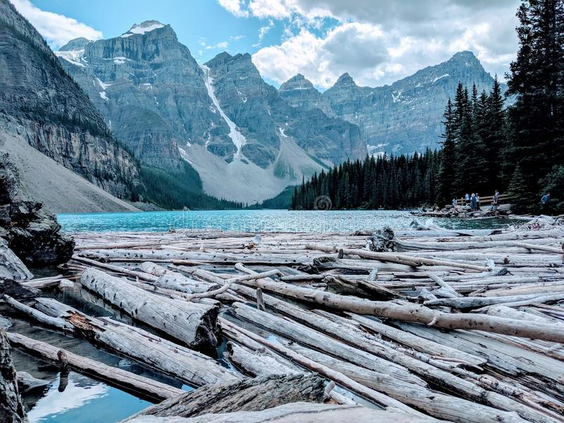 Majestic Banff Mountains with lake views royalty free stock images