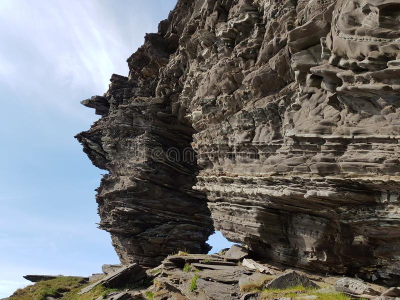 The majestic church gate rock formation on mageroya. Northern norway royalty free stock photography