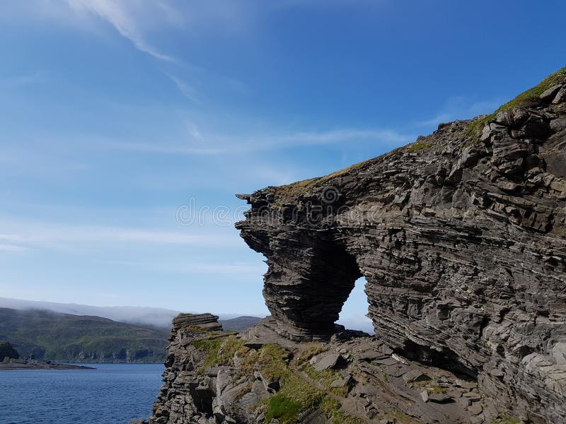 The majestic church gate rock formation on mageroya. Northern norway royalty free stock photos