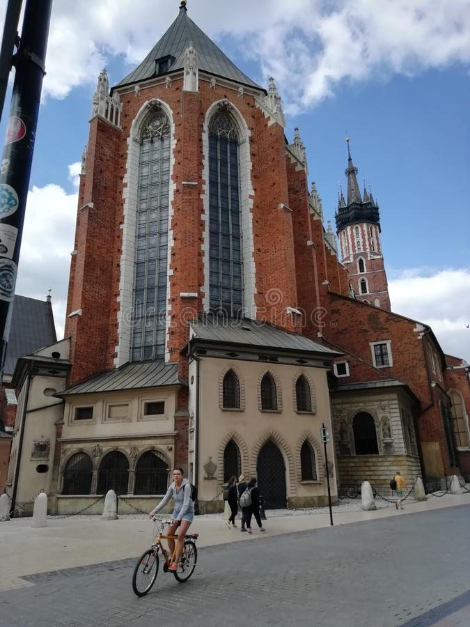 The majestic church of Krakow stock images