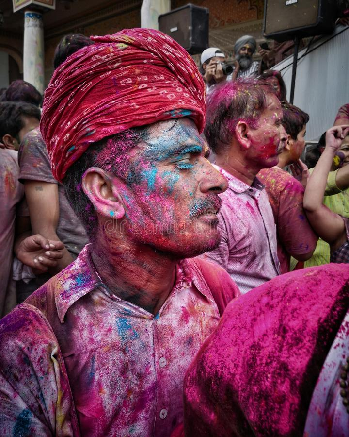 Majestic Color. Holi, festival, india, colour, red, culture, fun, spiritual, dance, temple, people, community royalty free stock photography