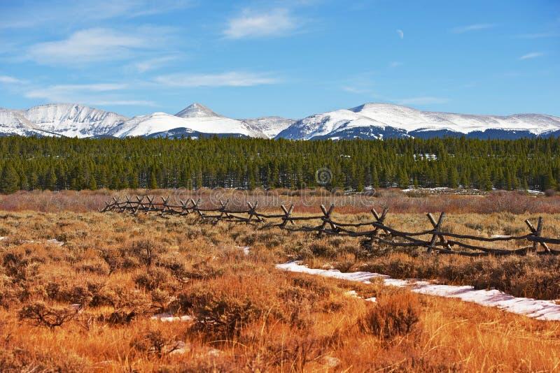 Majestic Colorado. Landscape in Autumn with Snowy Peaks. Scenic Valley Near Leadville, Colorado, United States stock photo