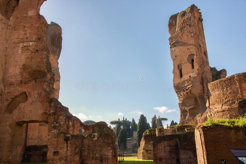 Caracalla barhs. Majestic complex of Caracalla baths, roman thermae in Rome, Italy royalty free stock photography