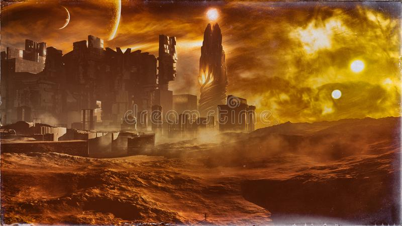 Majestic Concept Golden Desert City Vintage. A majestic science fiction type of concept city skyline with a glorious magical tower in a high desert environment vector illustration