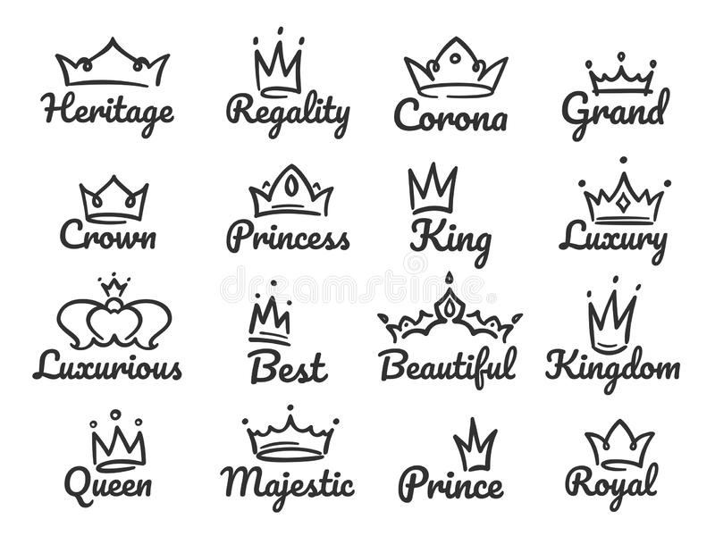 Majestic crown logo. Sketch prince and princess, hand drawn queen sign or king crowns graffiti vector illustration set. Majestic crown logo. Sketch prince and stock illustration