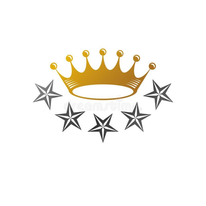 Majestic Crown, Pentagonal Star vector illustration. Heraldic decorative logo. Antique logotype isolated on white background stock illustration