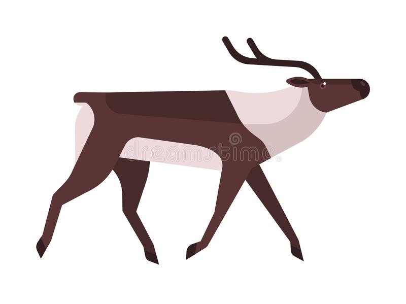 Majestic deer, reindeer flat vector illustration. Wild stag, wapiti minimalistic sign. Forest fauna, woodland wildlife. Cervus, elaphus side view. Hunting stock illustration